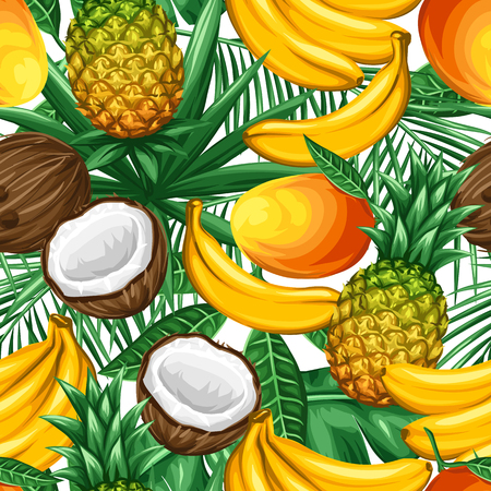 coconuts: Seamless pattern with tropical fruits and leaves. Background made without clipping mask. Easy to use for backdrop, textile, wrapping paper. Illustration