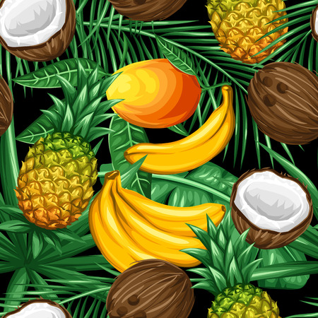 Seamless pattern with tropical fruits and leaves. Background made without clipping mask. Easy to use for backdrop, textile, wrapping paper. Illustration