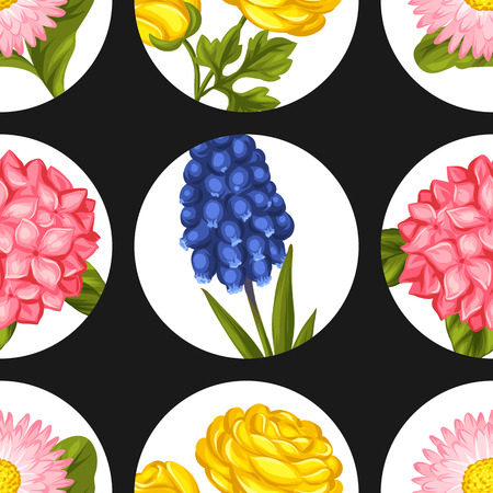 garden flowers: Seamless pattern with garden flowers. Decorative hortense, ranunculus, muscari and marguerite. Easy to use for backdrop, textile, wrapping paper, wallpaper.