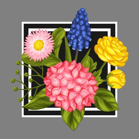 buttercup  decorative: Background with garden flowers. Decorative hortense, ranunculus, muscari and marguerite. Image for wedding invitations, romantic cards, booklets.