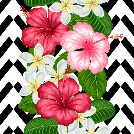 pink plumeria: Seamless pattern with tropical flowers hibiscus and plumeria. Background made without clipping mask. Easy to use for backdrop, textile, wrapping paper.