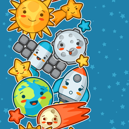 space cartoon: Kawaii space seamless pattern. Doodles with pretty facial expression. Illustration of cartoon sun, earth, moon, rocket and celestial bodies.