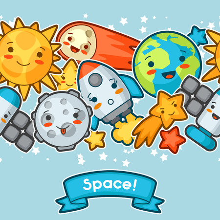 celestial body: Kawaii space seamless pattern. Doodles with pretty facial expression. Illustration of cartoon sun, earth, moon, rocket and celestial bodies.