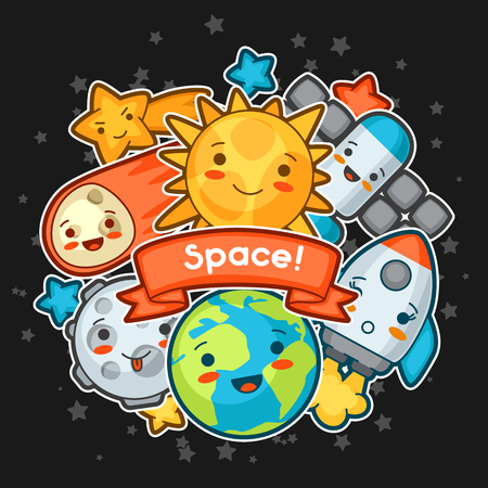 celestial: Kawaii space card. Doodles with pretty facial expression. Illustration of cartoon sun, earth, moon, rocket and celestial bodies.
