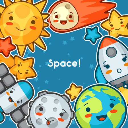cartoon space: Kawaii space background. Doodles with pretty facial expression. Illustration of cartoon sun, earth, moon, rocket and celestial bodies.