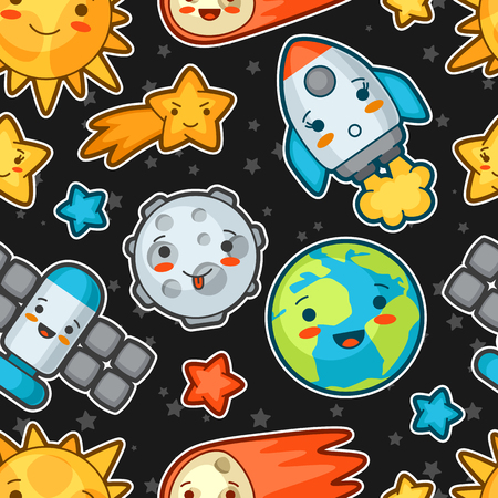celestial: Kawaii space seamless pattern. Doodles with pretty facial expression. Illustration of cartoon sun, earth, moon, rocket and celestial bodies.