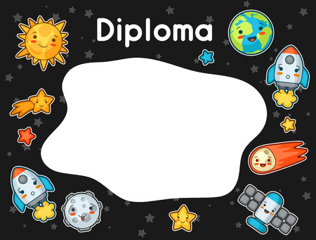 stars cartoon: Kawaii space diploma. Doodles with pretty facial expression. Illustration of cartoon sun, earth, moon, rocket and celestial bodies. Illustration