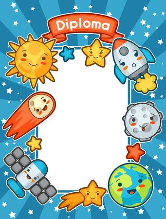 graduacion niños: Diploma kawaii espacio. Doodles con la expresión facial bastante. Ilustración del sol de la historieta, tierra, luna, cohetes y los cuerpos celestes.