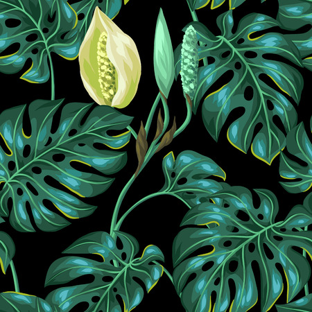clipping mask: Seamless pattern with monstera leaves. Decorative image of tropical foliage and flower. Background made without clipping mask. Easy to use for backdrop, textile, wrapping paper.