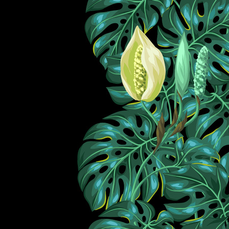 monstera leaf: Seamless pattern with monstera leaves. Decorative image of tropical foliage and flower. Background made without clipping mask. Easy to use for backdrop, textile, wrapping paper.