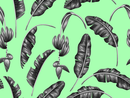 tropical flowers: Seamless pattern with banana leaves. Decorative image of tropical foliage, flowers and fruits. Background made without clipping mask. Easy to use for backdrop, textile, wrapping paper. Illustration