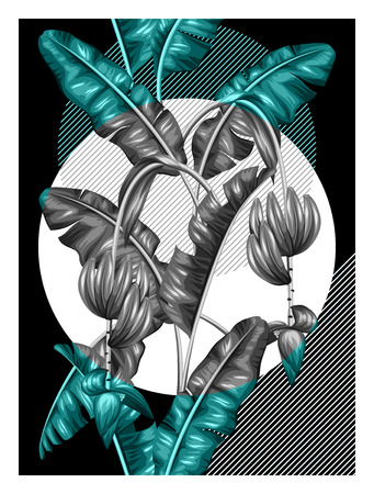 tropical: Poster with banana leaves. Decorative image of tropical foliage, flowers and fruits. Design for advertising booklets, banners, flayers, cards.