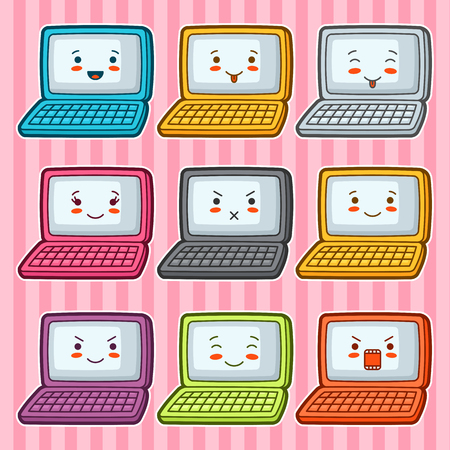 wicked set: Doodle laptops set. Illustration of gadgets with various facial expression. Illustration