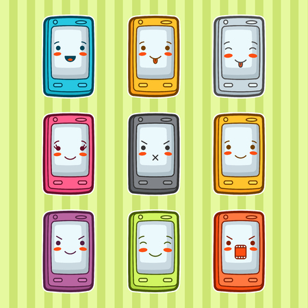 wicked set: Doodle mobile phones set. Illustration of gadgets with various facial expression. Illustration