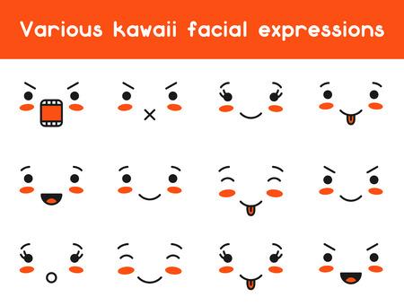 Doodle conjunto de vaus la expresión facial. Ilustración de vector
