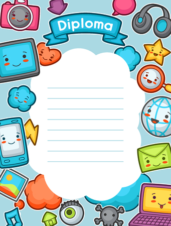 graduate asian: Gadgets social network diploma. Doodles with pretty facial expression. Illustration of phone, tablet, globe, camera, laptop, headphones and other. Illustration