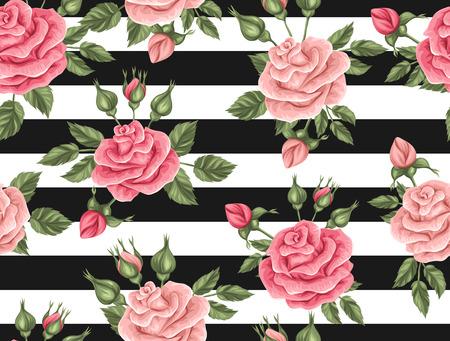 Sin patrón, con rosas de la vendimia. retro flores decorativas. Fácil de usar para el telón de fondo, textiles, papel de envolver, papel pintado. Foto de archivo - 58135382