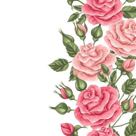 Naadloze grens met vintage rozen. Decoratieve retro bloemen. Eenvoudig te gebruiken voor achtergrond, textiel, inpakpapier.