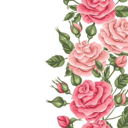 Seamless border with vintage roses. Decorative retro flowers. Easy to use for backdrop, textile, wrapping paper. Illustration