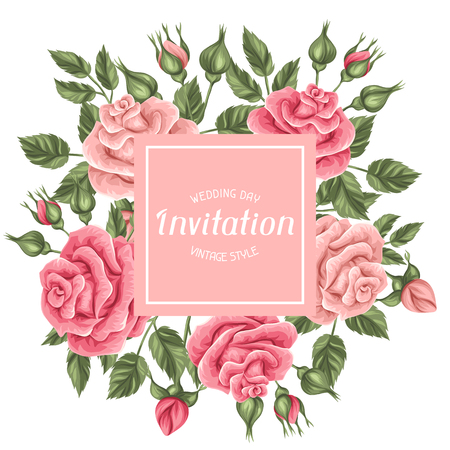Uitnodiging kaart met vintage rozen. Decoratieve retro bloemen. Afbeelding voor trouwkaarten, romantische kaarten, posters.