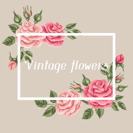 Fondo con las rosas de la vendimia. retro flores decorativas. Imagen para las invitaciones de boda, tarjetas románticas, folletos. Ilustración de vector