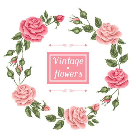 Capítulo con las rosas de la vendimia. retro flores decorativas. Imagen para las invitaciones de boda, tarjetas románticas, folletos. Ilustración de vector