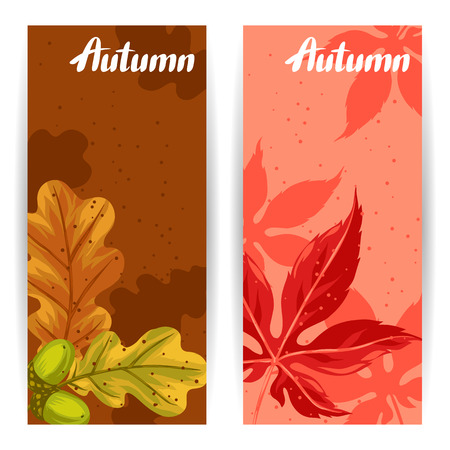 banners with autumn leaves and plants design for advertising