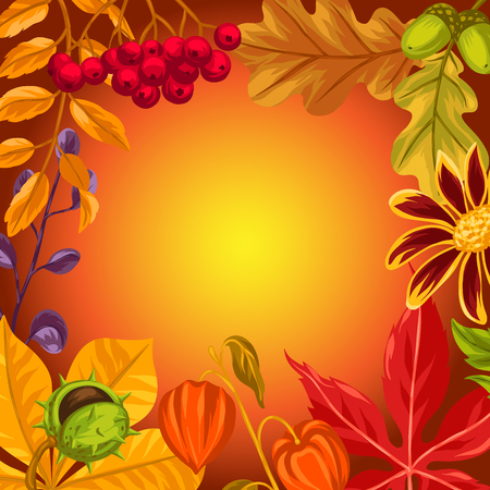flayers: Background with autumn leaves and plants. Design for advertising booklets, banners, flayers, cards. Illustration