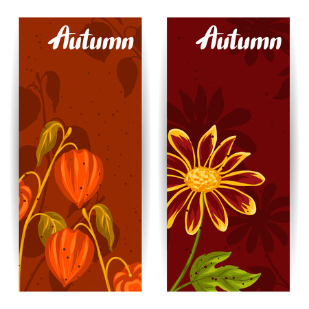 flayers: Banners with autumn leaves and plants. Design for advertising booklets, banners, flayers, cards. Illustration
