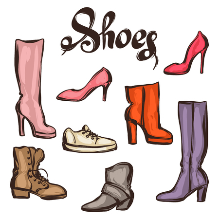 stiletto: Set of various shoes. Hand drawn illustration female footwear, boots and stiletto heels.