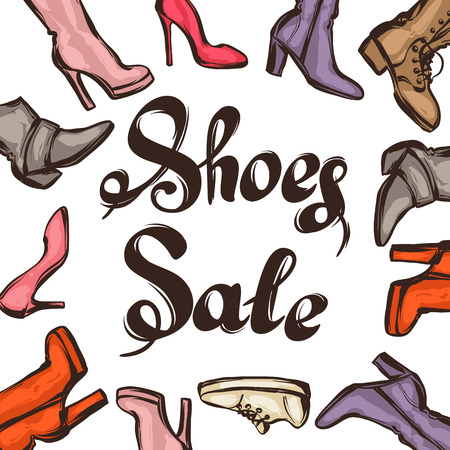 footwear: Background with lettering sale shoes. Hand drawn illustration female footwear, boots and stiletto heels. Illustration