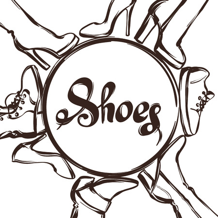 shoelace: Background with shoes. Hand drawn illustration female footwear, boots and stiletto heels. Illustration