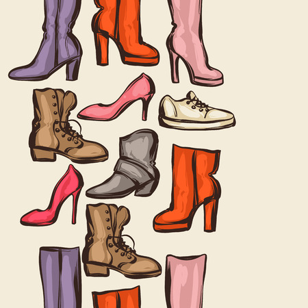 boots: Seamless pattern with shoes. Hand drawn illustration female footwear, boots and stiletto heels.