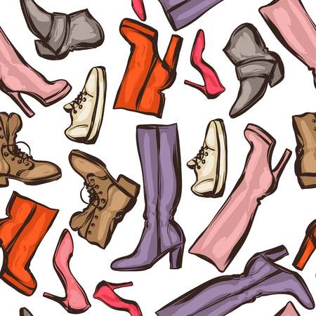 stiletto: Seamless pattern with shoes. Hand drawn illustration female footwear, boots and stiletto heels.