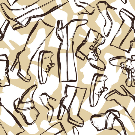 footwear: Seamless pattern with shoes. Hand drawn illustration female footwear, boots and stiletto heels.