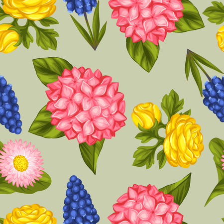 outdoor wedding: Seamless pattern with garden flowers. Decorative hortense, ranunculus, muscari and marguerite. Easy to use for backdrop, textile, wrapping paper, wallpaper.
