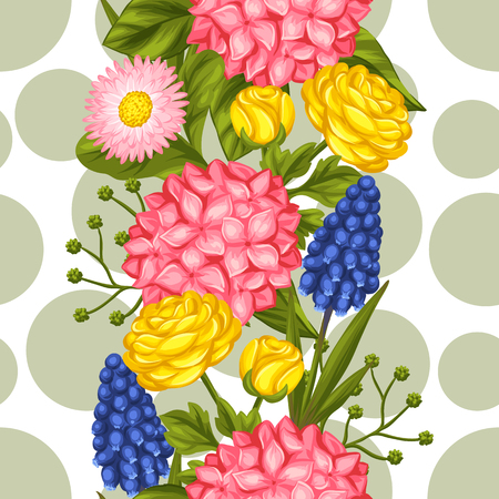 buttercup  decorative: Seamless pattern with garden flowers. Decorative hortense, ranunculus, muscari and marguerite. Easy to use for backdrop, textile, wrapping paper, wallpaper.