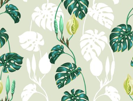 Naadloos patroon met monsterabladeren. Decoratief beeld van tropische bladeren en bloemen. Achtergrond gemaakt zonder knippen masker. Makkelijk te gebruiken voor de achtergrond, textiel, inpakpapier.