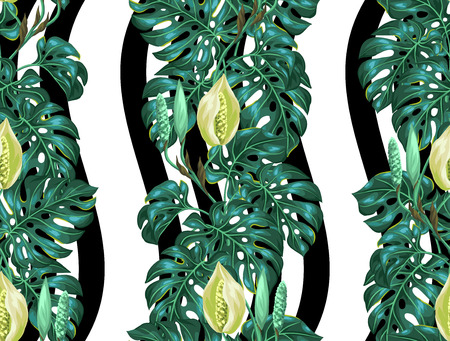 foliage: Seamless pattern with monstera leaves. Decorative image of tropical foliage and flower. Background made without clipping mask. Easy to use for backdrop, textile, wrapping paper.