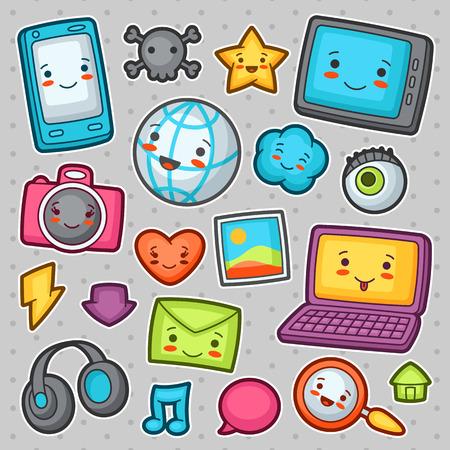 telefono caricatura: adminículos elementos de redes sociales. Doodles con la expresión facial bastante. Ilustración de teléfono, tableta, globo, cámara, ordenador portátil, auriculares y otros.