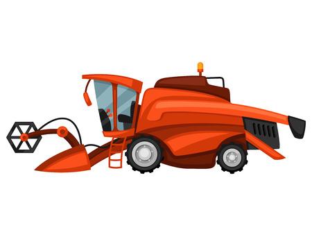 tillage: Máquina segadora en el fondo blanco. Resumen ilustración de la maquinaria agrícola. Vectores