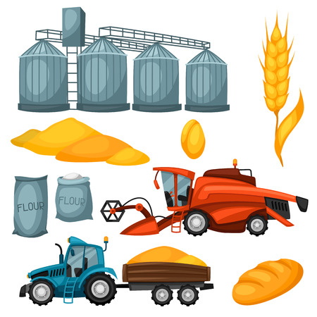 granary: Agricultural set of harvesting items. Combine harvester, tractor and granary.