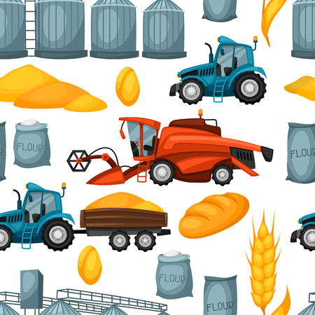 granary: Agricultural seamless pattern with harvesting items. Combine harvester, tractor and granary.