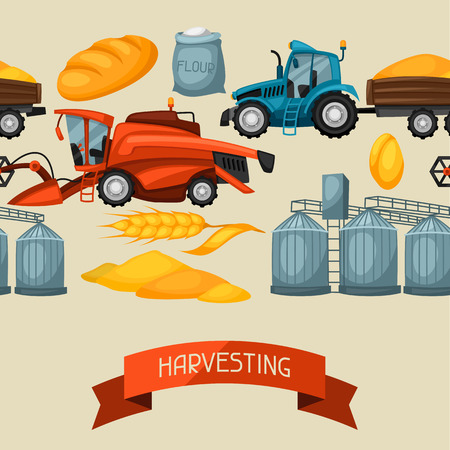 combine: Agricultural seamless pattern with harvesting items. Combine harvester, tractor and granary.