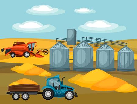 harvester: Harvesting grain. Combine harvester, tractor and granary. Agricultural illustration farm rural landscape.