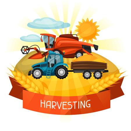 harvester: Combine harvester and tractor on wheat field. Agricultural illustration farm rural landscape. Illustration