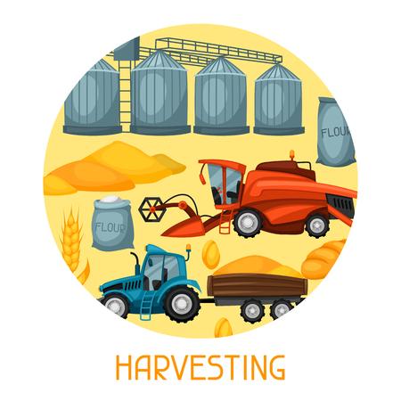 granary: Harvesting background. Combine harvester, tractor and granary. Agricultural illustration farm rural landscape.