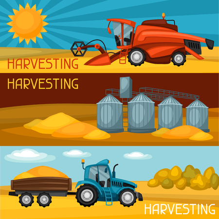 granary: Set of harvesting banners. Combine harvester, tractor and granary. Agricultural illustration farm rural landscape.