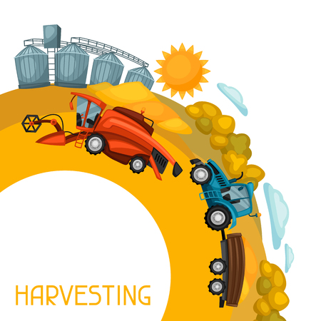 granary: Harvesting background. Combine harvester, tractor and granary on wheat field. Agricultural illustration farm rural landscape.