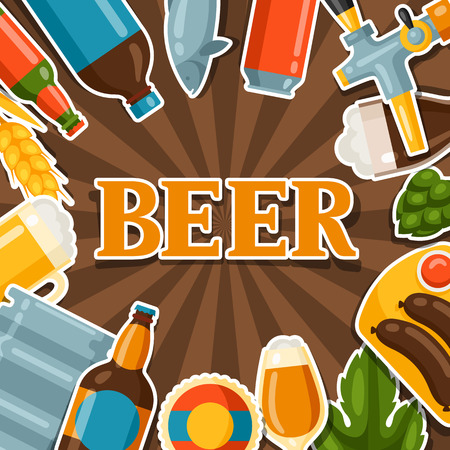 design objects: Background design with beer stickers and objects.